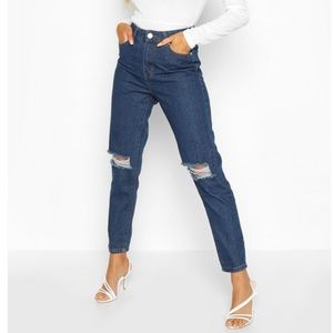 BooHoo High Waist Distressed Mom Jeans NWT